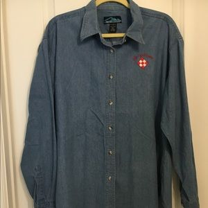 Women's L denim shirt with quilt show embroidery.